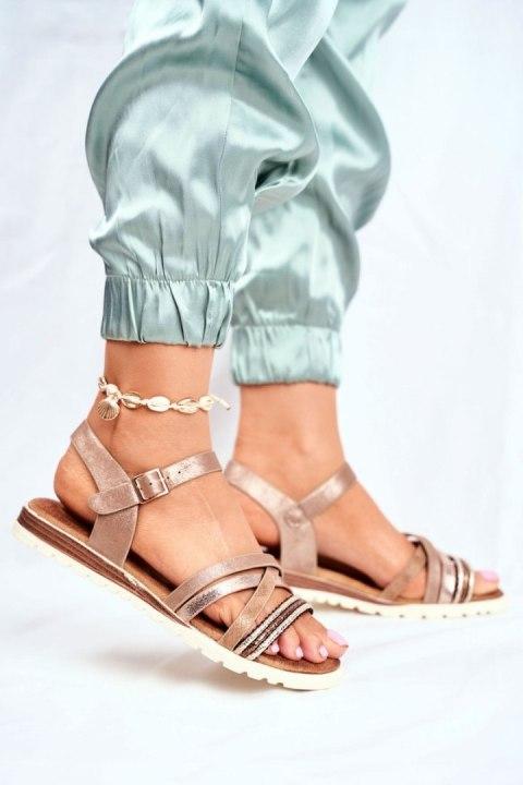 Sandały Damskie Gladiatorki Z Kryształkami Camel Hype